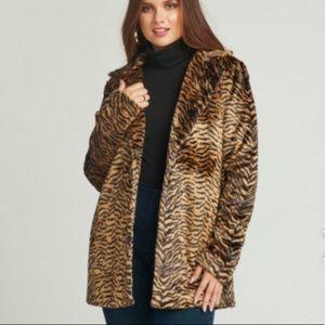 Tiger print faux jacket